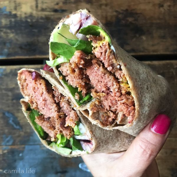 Burger Wrap LOVE - Vegan Recipe on camila.life